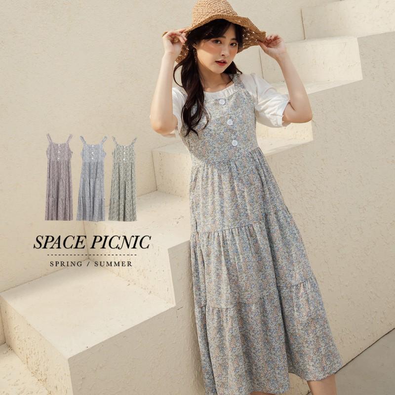 Space Picnic|白釦碎花無袖雪紡洋裝(現+預)【C21031102】
