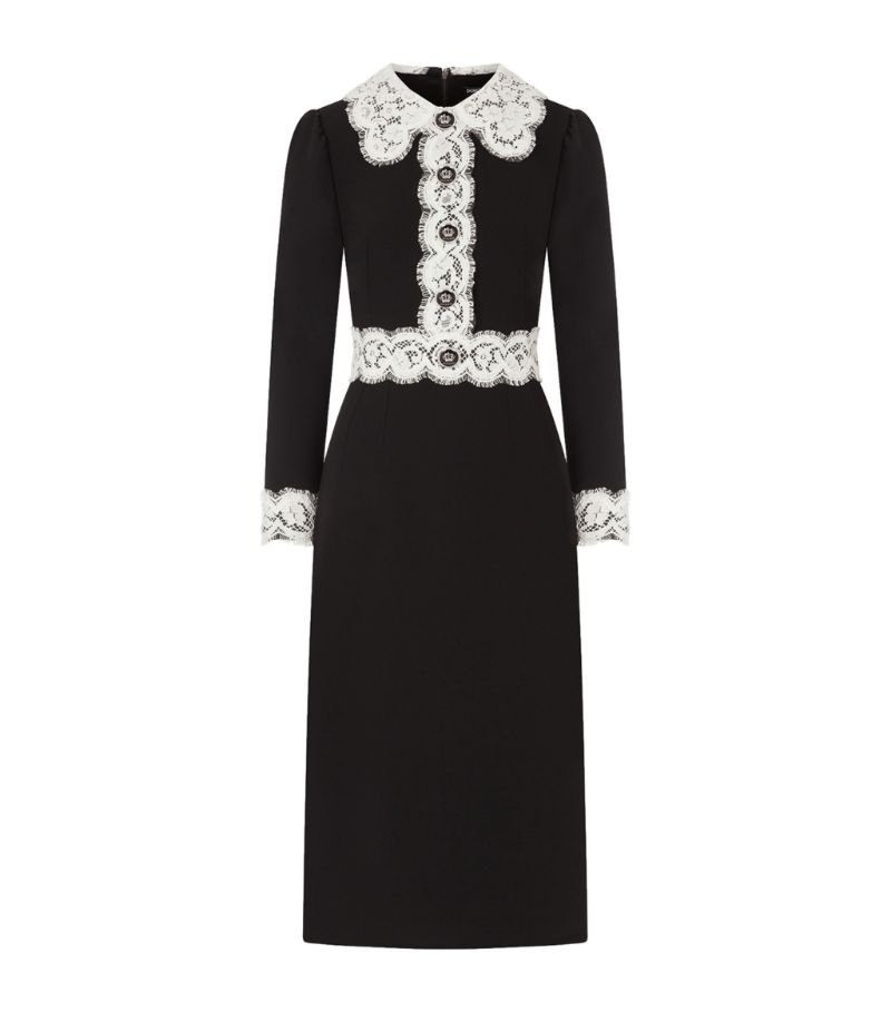 Dolce & Gabbana Cady Lace-Trim Midi Dress