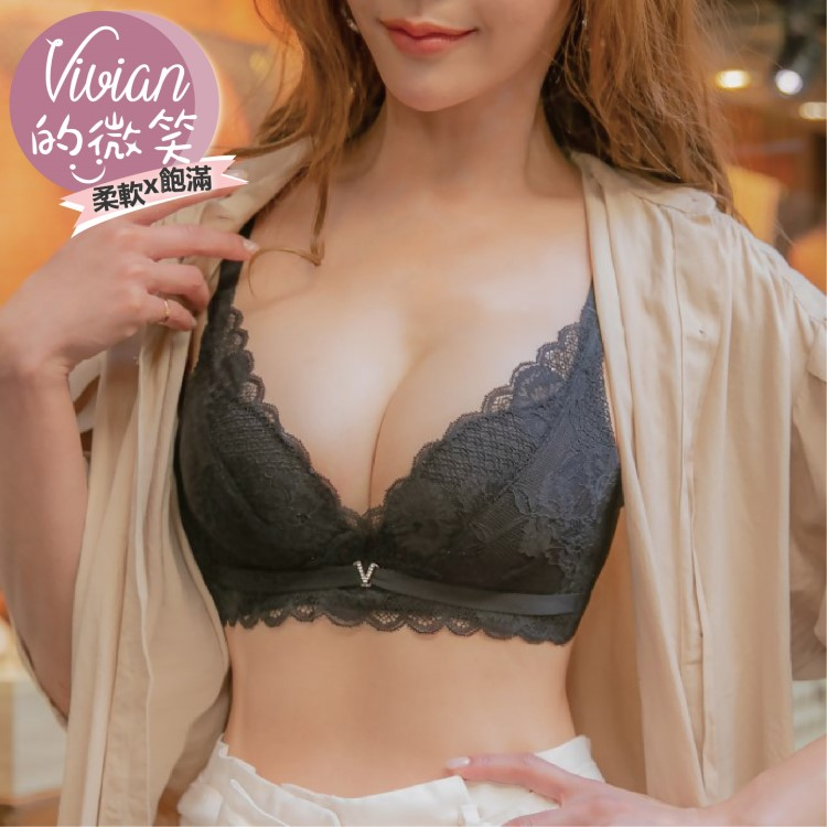 Vivian的微笑‧饅頭牛奶杯‧無鋼圈集中爆乳內衣(黑) nana magic 內衣推薦 ✨