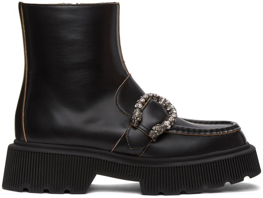 Gucci 黑色 Tiger Head 搭扣踝靴