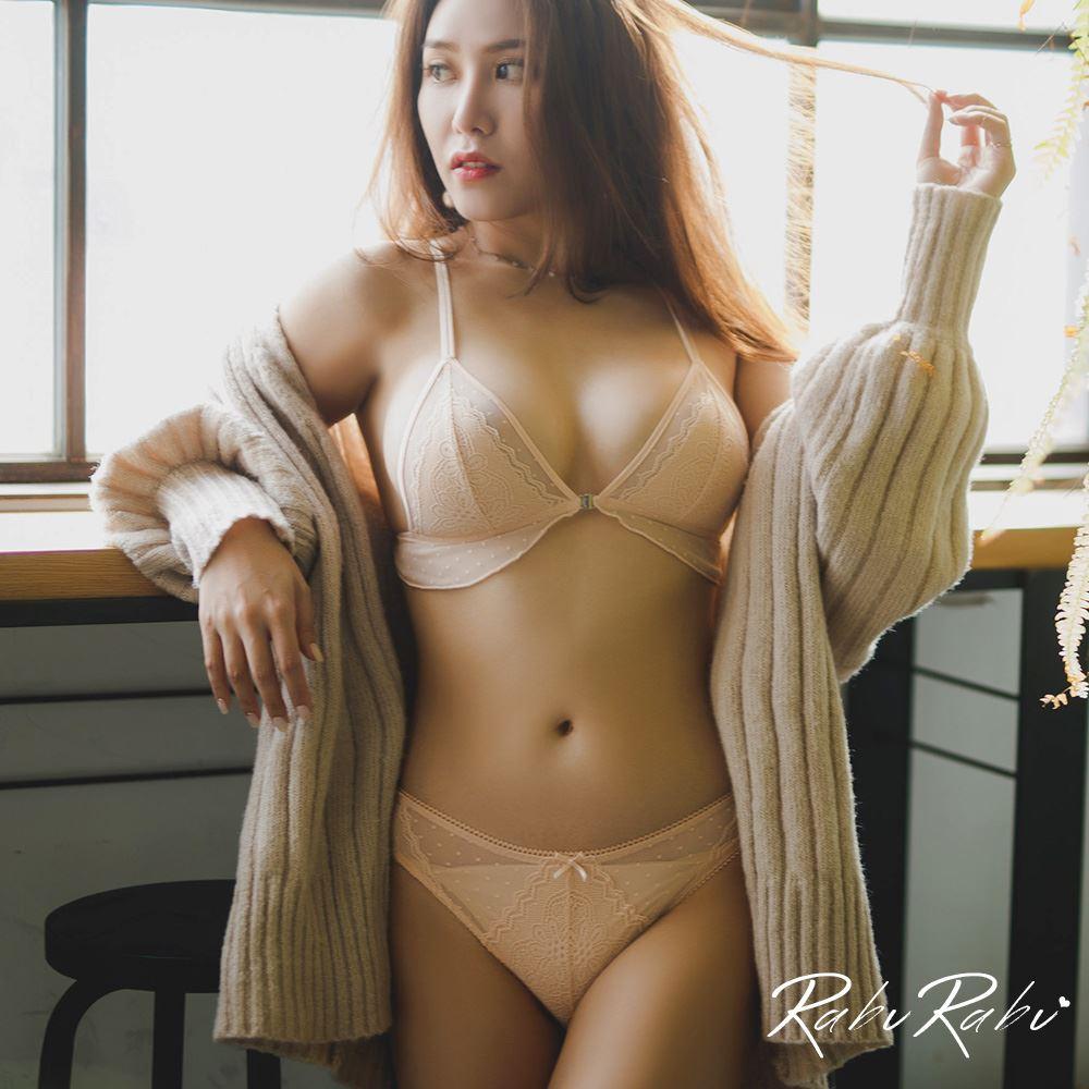 內衣 RABURABU 太妃香草 前釦設計無鋼圈成套內衣 (粉橘)【B533】
