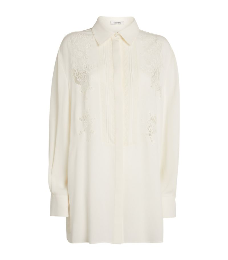Valentino Silk Lace-Detail Shirt