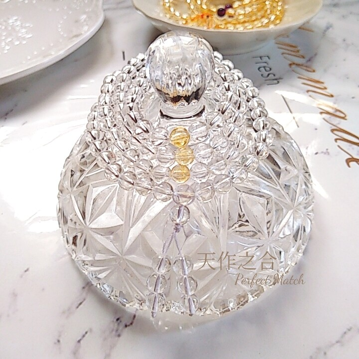 白水晶108顆念珠佛珠開運 轉運 招財 天然水晶手鍊項鍊