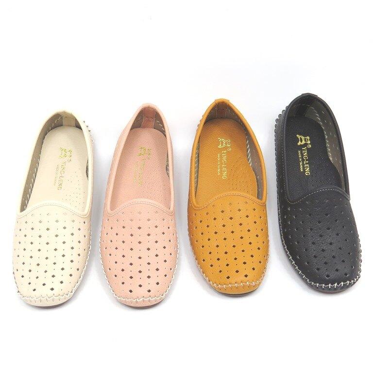 *包鞋*鞋面沖孔透氣舒適平底鞋 娃娃鞋18-7838(米/粉/黃/黑)*[彩虹屋]* 現+預