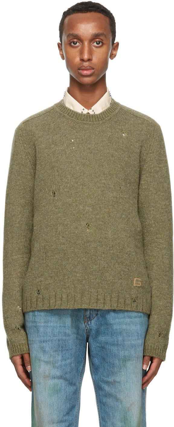 Gucci 绿色 Square G 羊毛毛衣