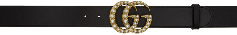 Gucci 黑色 GG 珍珠皮革腰带