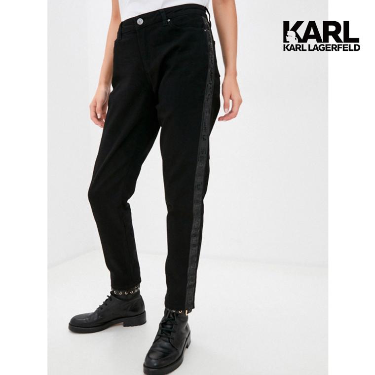 【KARL LAGERFELD】KARL側邊黑色LOGO牛仔褲-黑 (原廠公司貨)