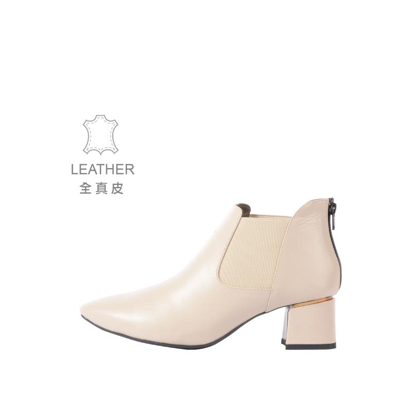 (台灣製造-全真皮系列) 暮綠森林短靴 簡約白
