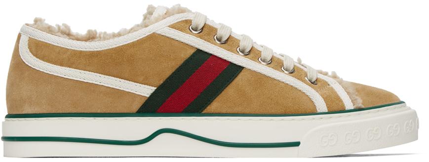 Gucci 驼色 Gucci Tennis 1977 绒面革运动鞋