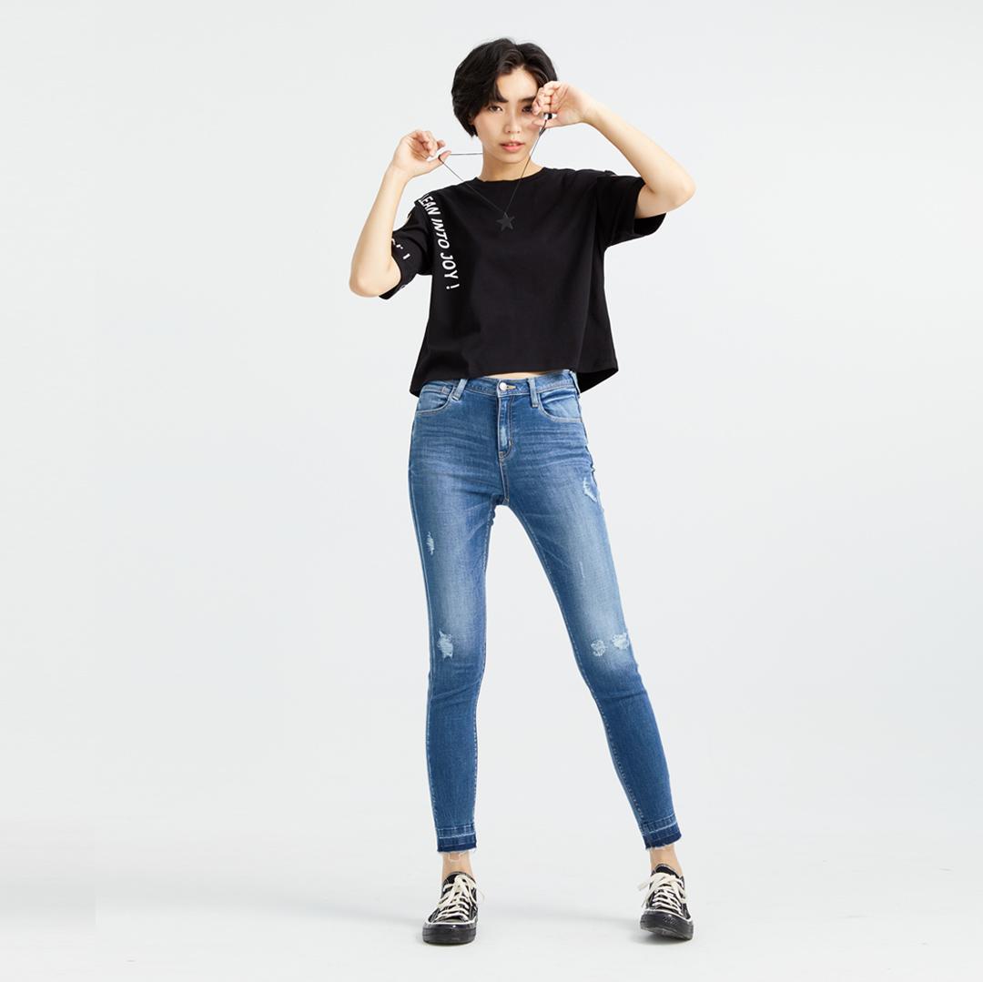 經典刷色微破顯瘦牛仔褲(石洗藍)-女
