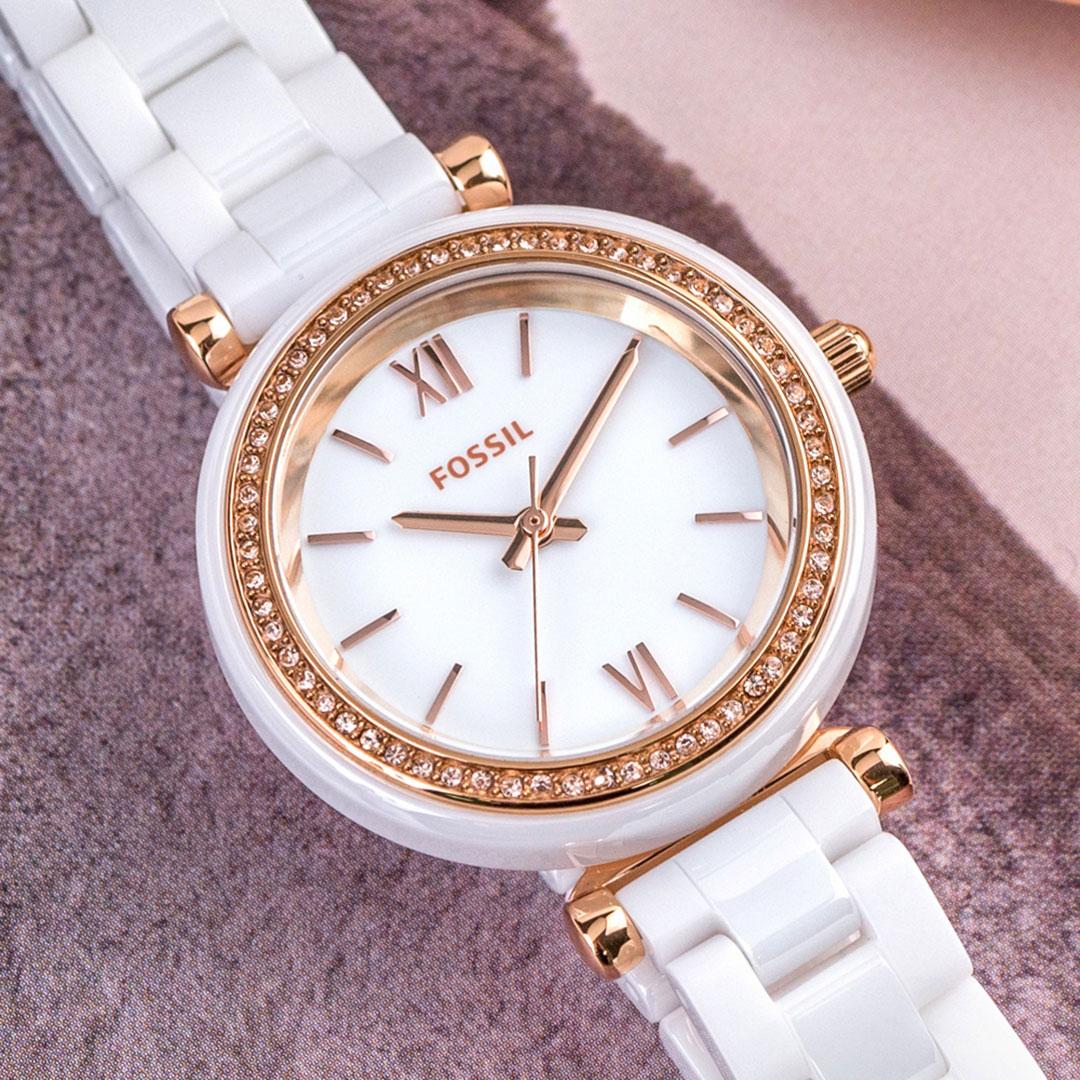 【領券再折2%+限量贈品】新作! FOSSIL Carlie Mini 純淨魅力時尚陶瓷腕錶/白x玫瑰金針 女錶 CE1104 公司貨保固 熱賣中!