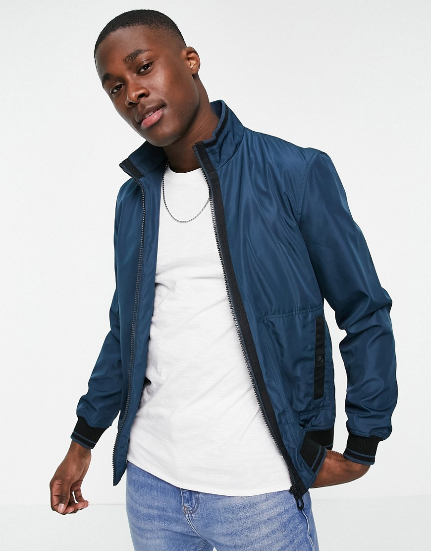 Ted Baker grosgrain trim bomber jacket-Blue