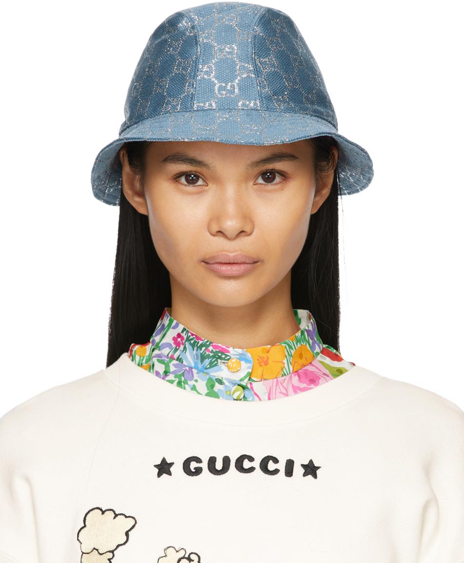 Gucci 蓝色 GG Lamé 渔夫帽