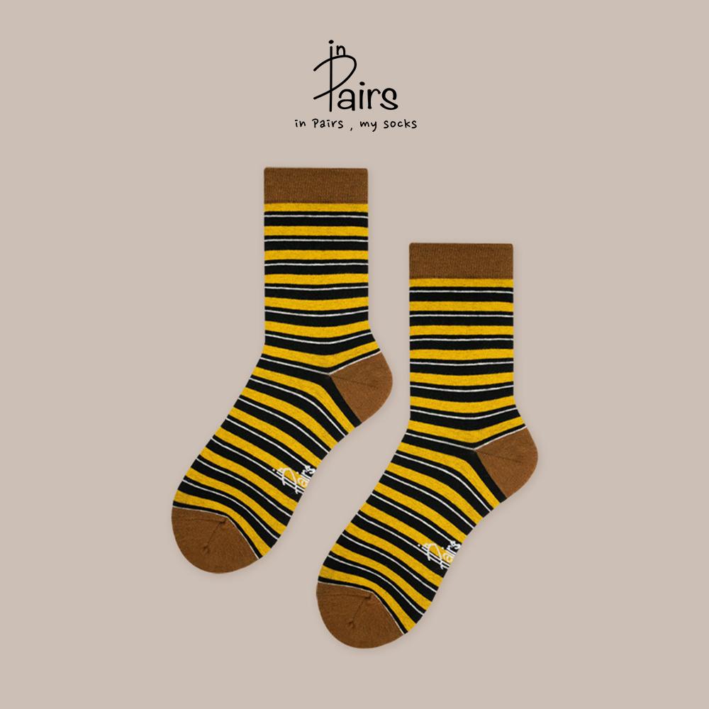 【in Pairs】橫條紋中筒襪-咖啡L 【康是美】