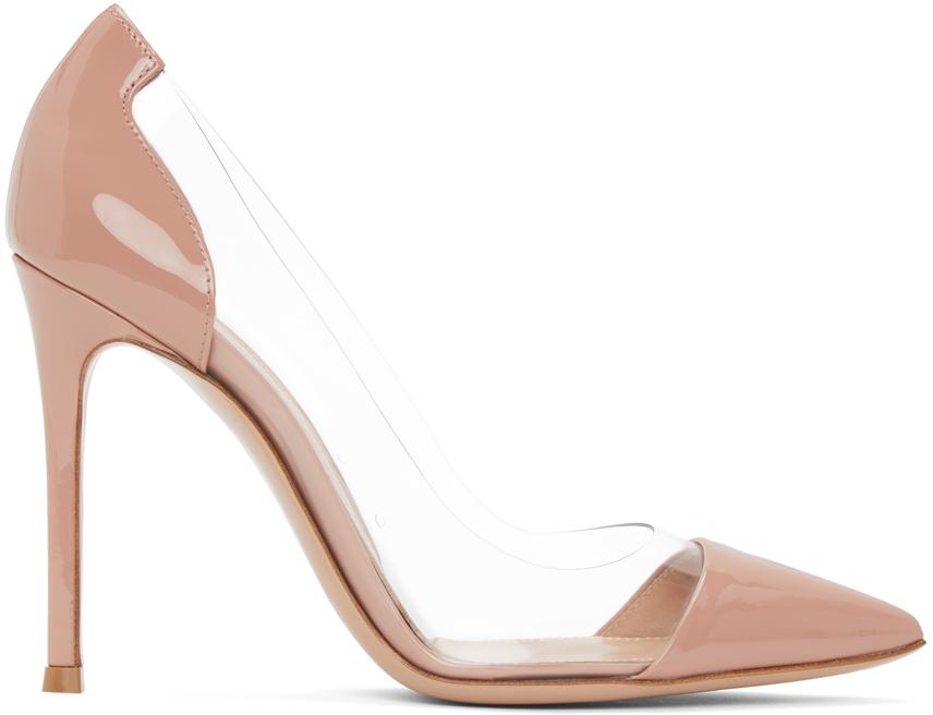 Gianvito Rossi 粉色 Plexi 漆皮高跟鞋
