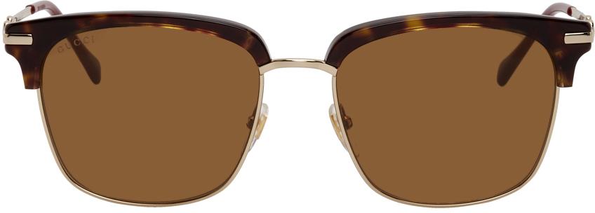 Gucci 金色 & 玳瑁色方框太阳镜