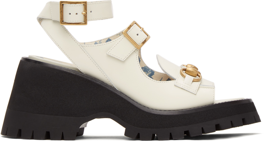Gucci 白色马衔扣凉鞋