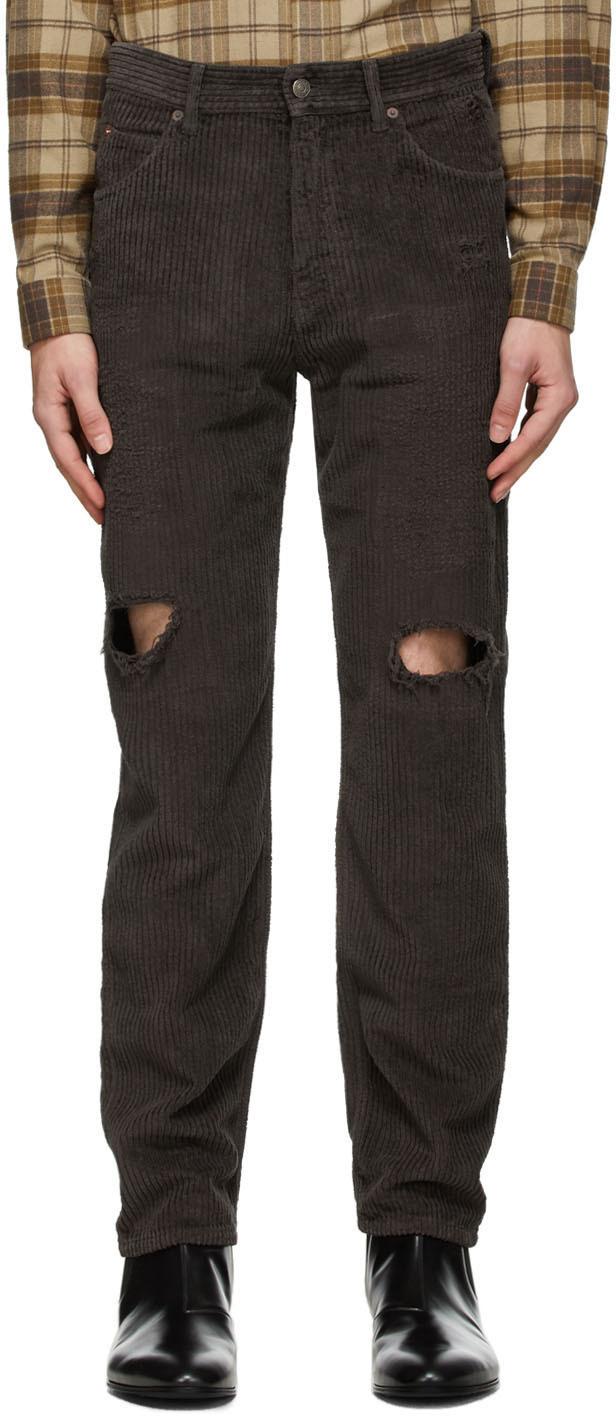 Gucci 棕色做旧灯芯绒长裤