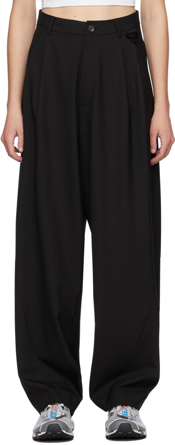 Hyein Seo SSENSE 独家发售黑色阔腿羊毛长裤