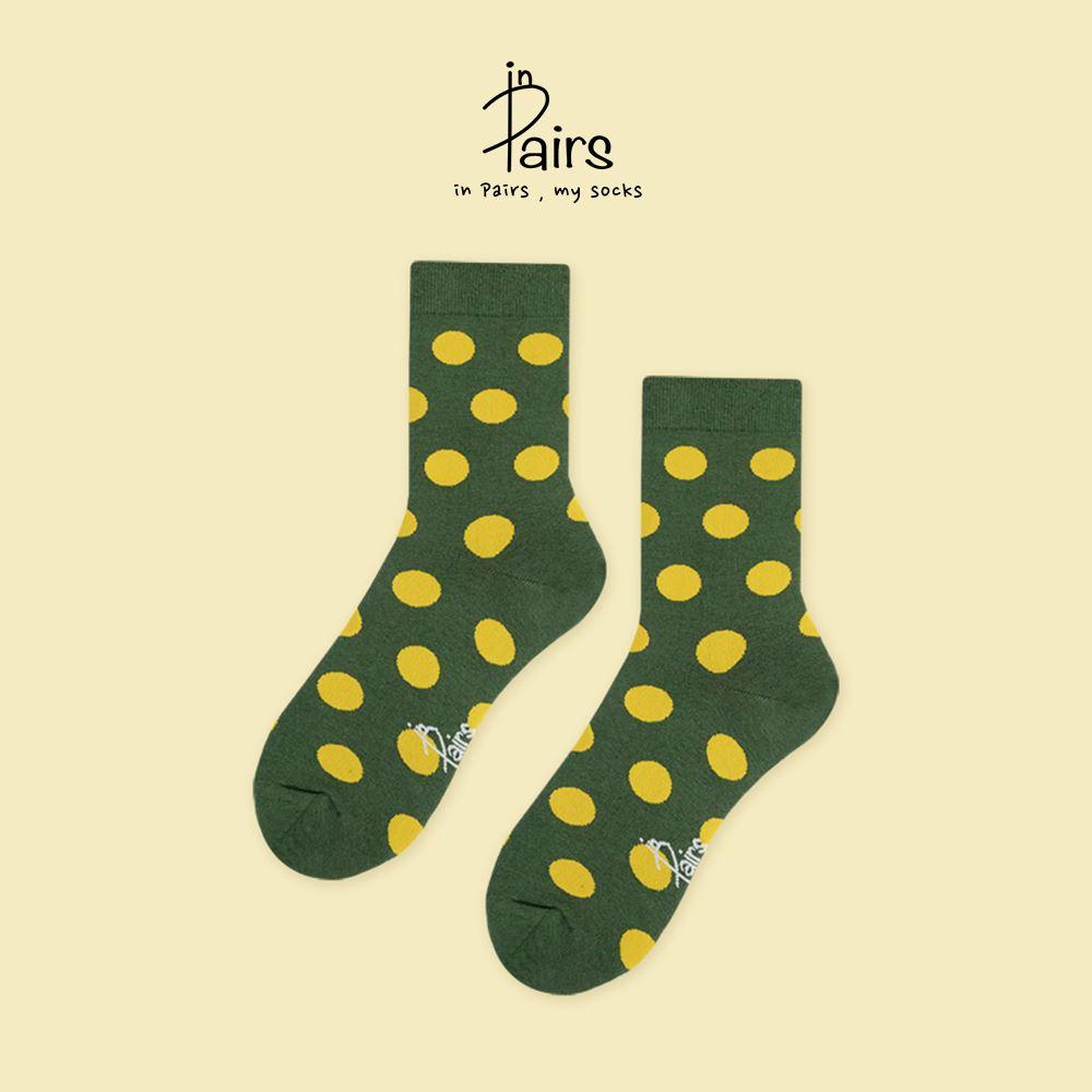【in Pairs】圓點點中筒襪-綠M 【康是美】