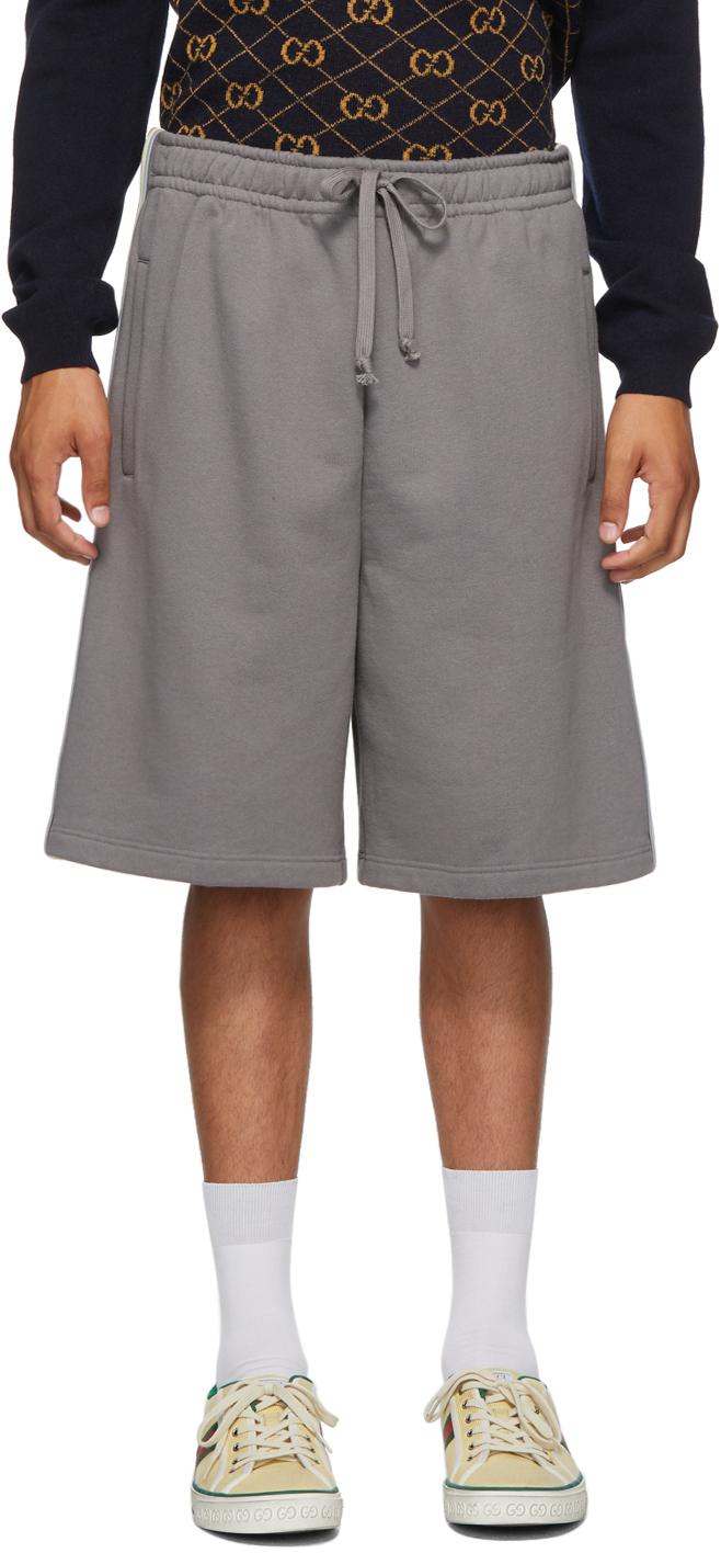 Gucci 灰色平纹针织短裤