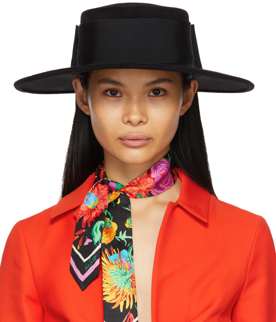 Gucci 黑色 Clara 毡制宽檐巴拿马帽
