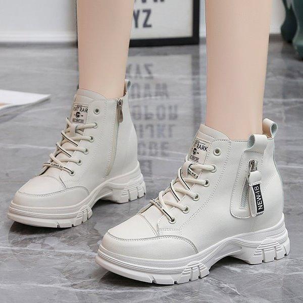 內增高.韓國街頭字母側拉鍊綁帶厚底高筒休閒鞋.白鳥麗子