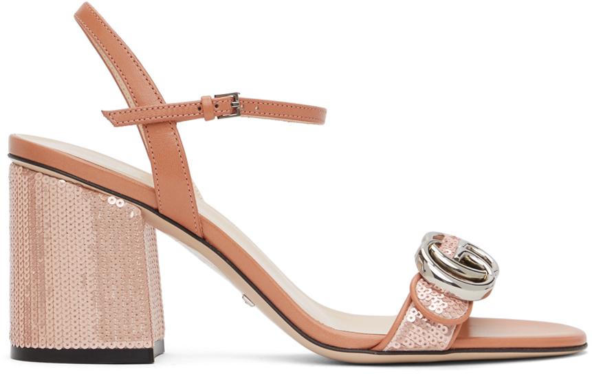 Gucci 粉色 GG Marmont 亮片凉鞋