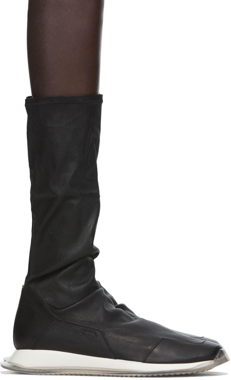 Rick Owens 黑色 Oblique 弹性中筒运动鞋