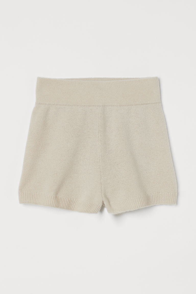 H & M - 喀什米爾羊毛精織短褲 - 白色