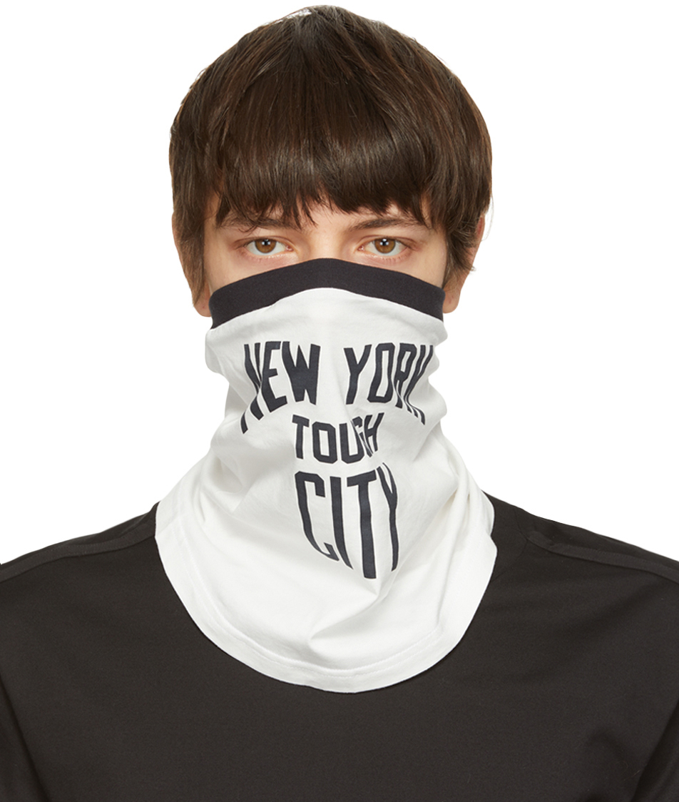 "TAKAHIROMIYASHITA TheSoloist. 白色 & 海军蓝""New York Tough City""围巾"
