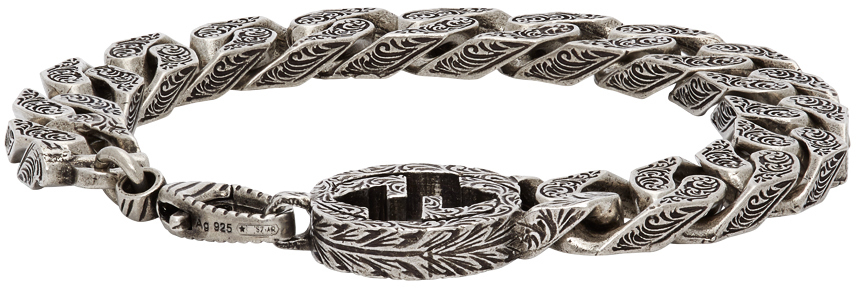 Gucci 银色 Interlocking G Chain 手链
