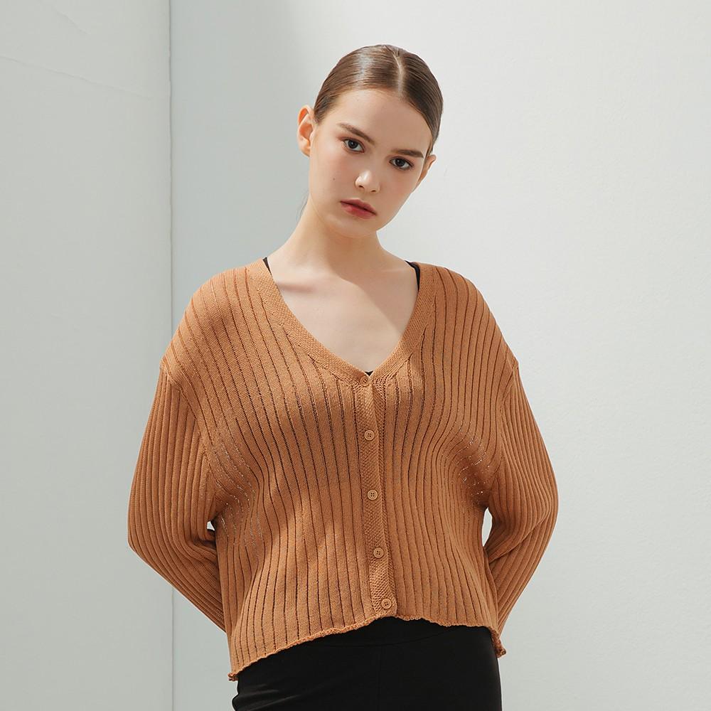 CACO-坑紋開襟針織衫(三色)-女【B2SH065】