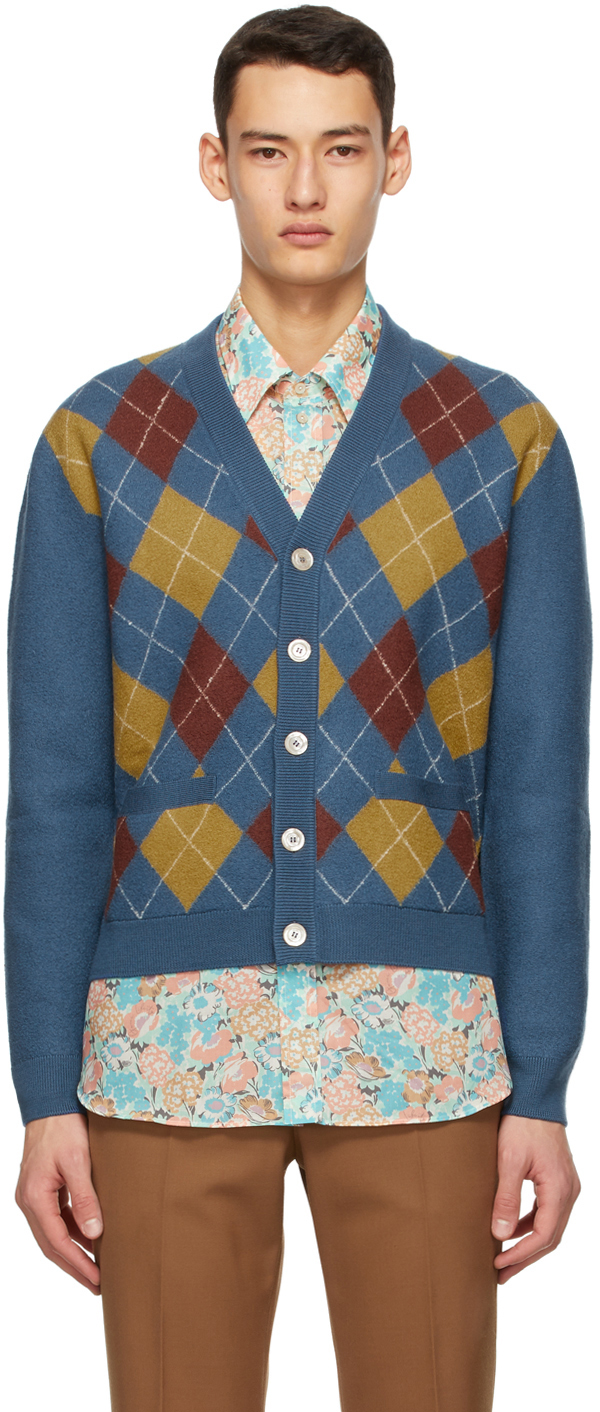 Gucci 蓝色菱形图案羊毛开衫