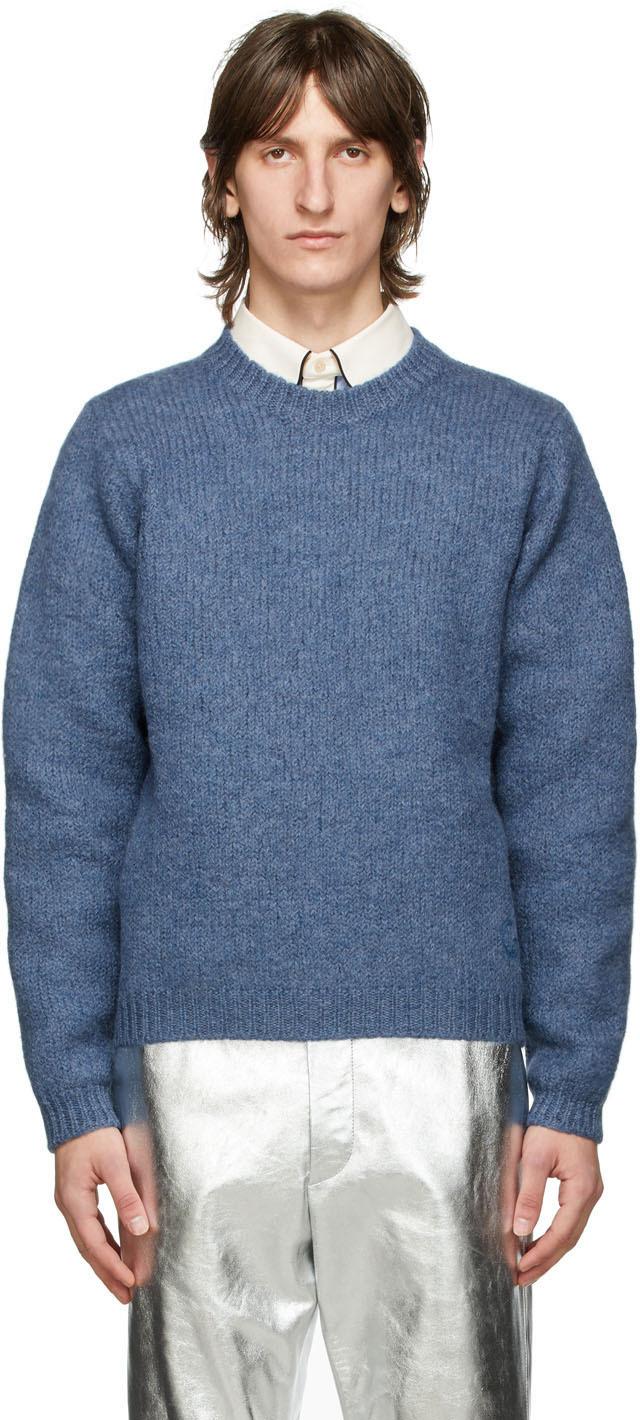 Gucci 蓝色 GG 羊毛毛衣