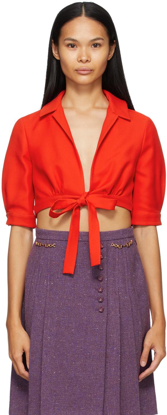 Gucci 红色翻领上装