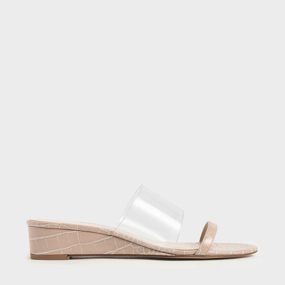 鱷魚紋楔型拖鞋