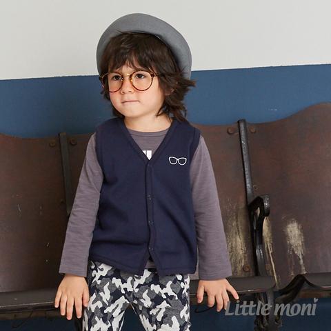 Little moni 眼鏡刺繡內抓絨背心(深藍)