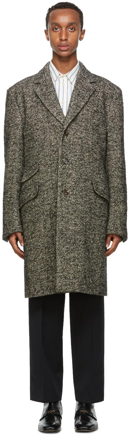 Gucci 灰色人字纹大衣