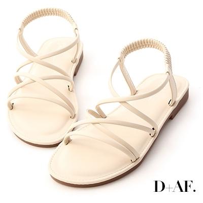 D+AF 美好假期.交叉細帶超軟Q底涼鞋*米白