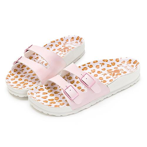 PLAYBOY 時髦氛圍 豹紋雙帶休閒拖鞋-粉(YT603)