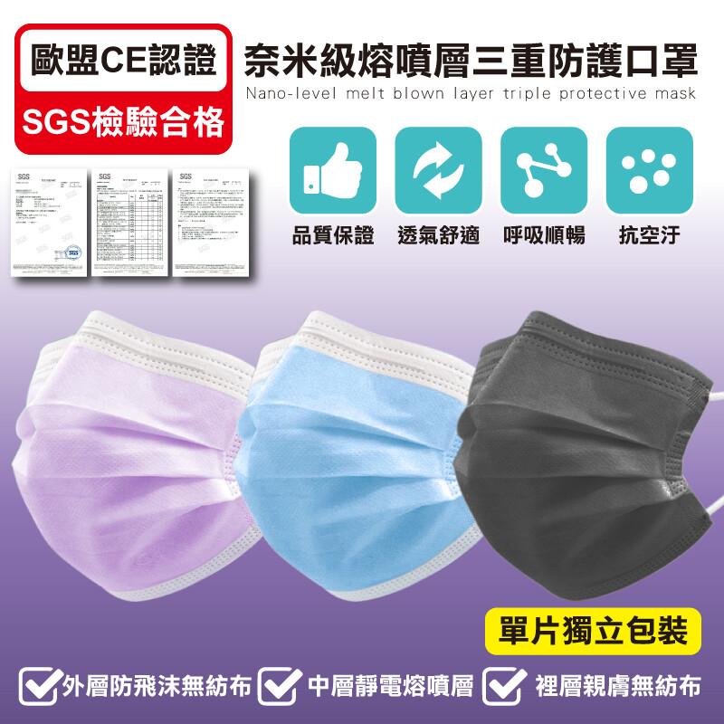 獨立包裝熔噴布三層防護口罩(1盒50片)(非醫療級)