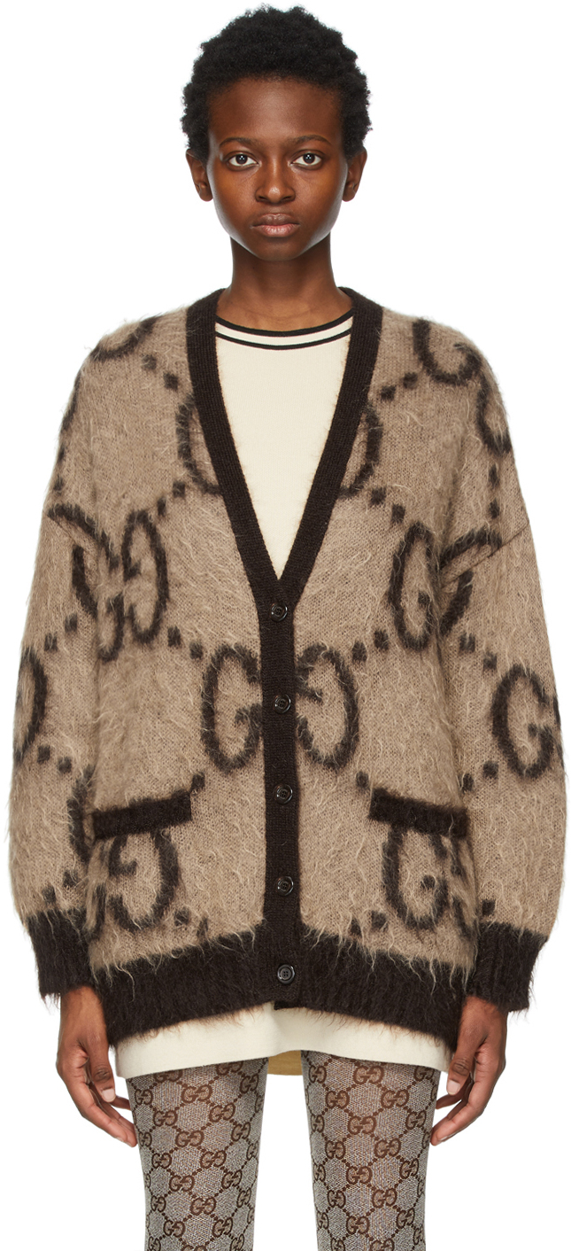 Gucci 驼色 & 棕色 GG 大廓形双面开衫