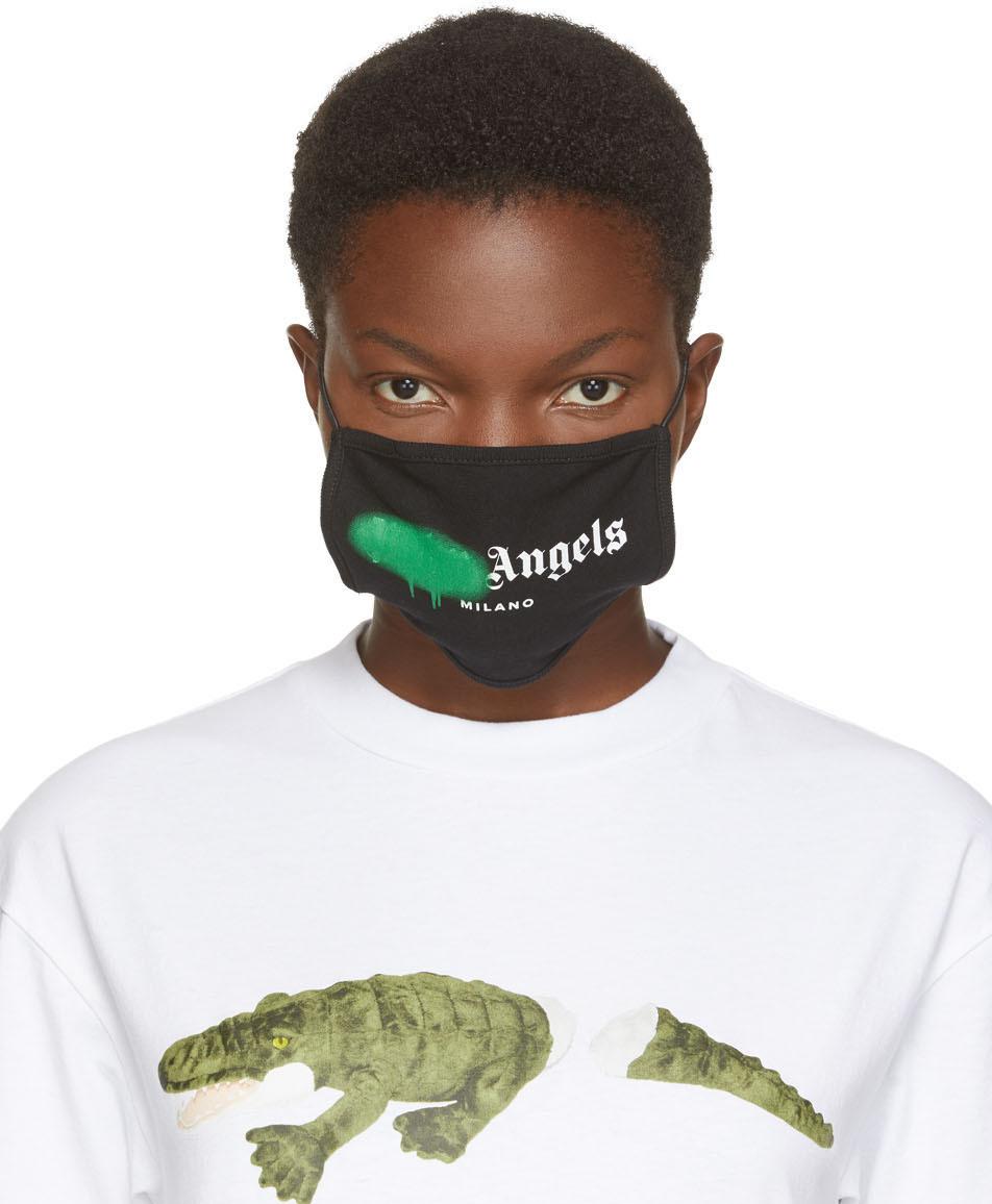 Palm Angels 黑色 & 绿色 Spray Logo 口罩