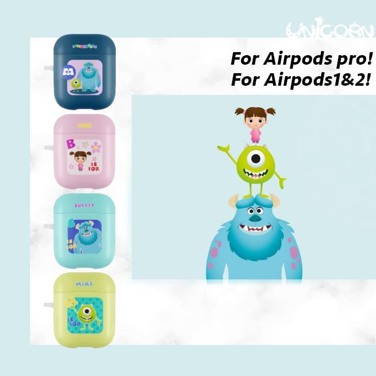 -四款-韓國正版迪士尼Q版畫像怪獸電力公司系列 蘋果AirPods 硬殼保護套 1/2代/3代AirPodsPro【AP1090923】Unicorn