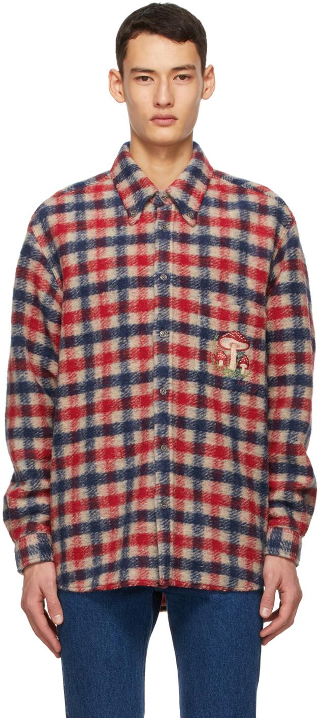 Gucci 多色 Mushrooms 格纹衬衫