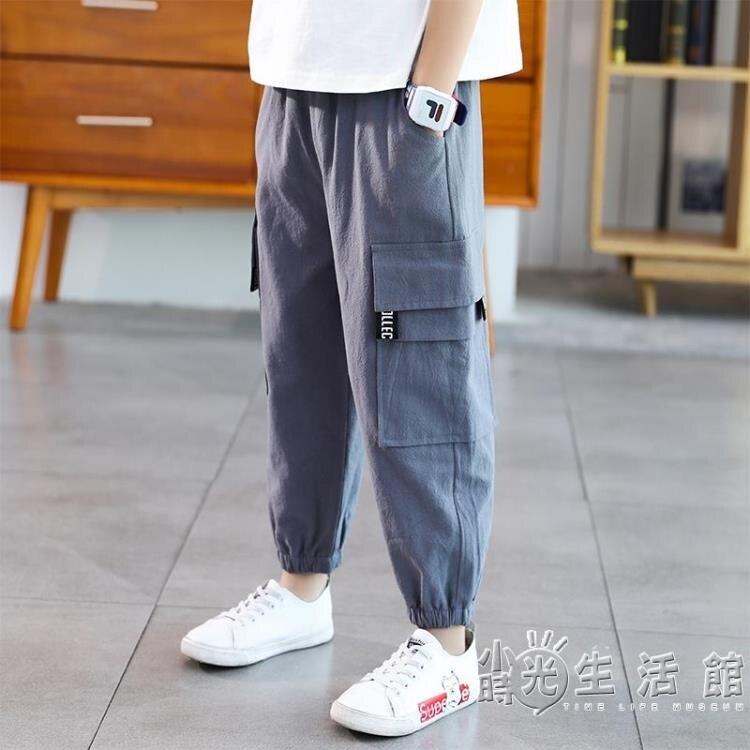 男童褲子夏季防蚊褲薄款長褲2021新款兒童速干工裝褲洋氣休閒褲潮