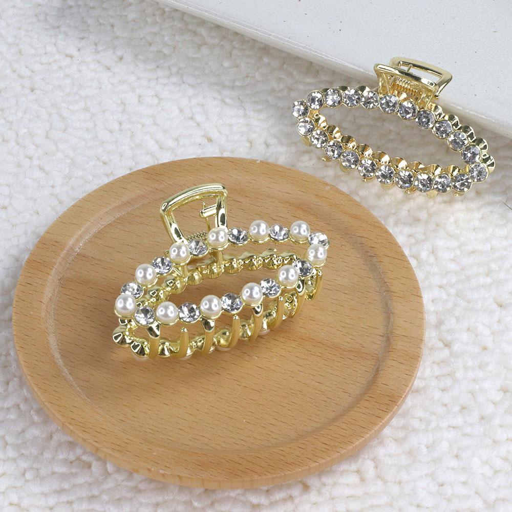 [日韓流行髮飾] 橢圓珍珠/水鑽金屬抓夾 2款  HC21001