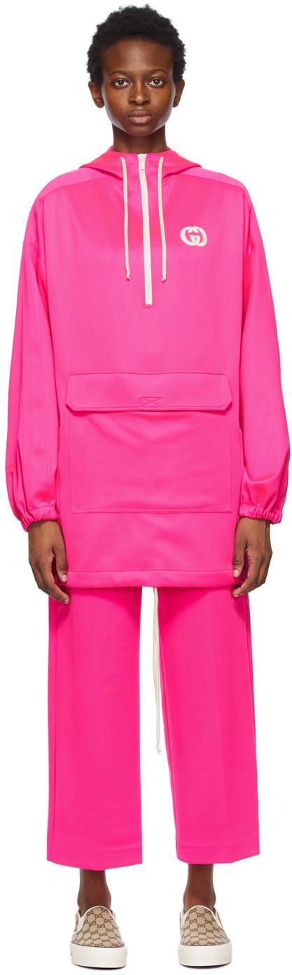 Gucci 粉色抽绳连帽衫