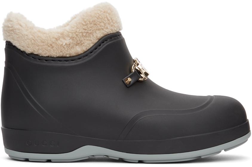 Gucci 黑色马衔扣踝靴